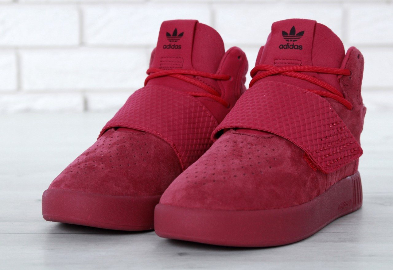 Кроссовки женские Adidas Tubular Invader Strap реплика ААА+ размер 36-40 красный (живые фото), фото 1