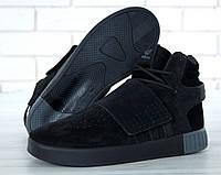 Зимние мужские кроссовки Adidas Tubular Invader Strap реплика ААА+ (нат. замша с мехом) р. 42-45(живые фото)