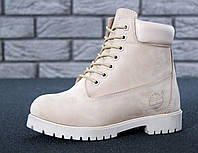 Зимние женские ботинки Timberland реплика ААА+ (нат. нубук и шерстяной мех) размер 36-41 бежевый (живые фото), фото 1