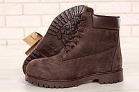 Зимние мужские ботинки Timberland реплика ААА+ (нат. нубук и шерстяной мех) размер 40-45 корич. (живые фото), фото 1