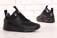 Зимние кроссовки мужские Nike Air Max 90 Mid Winter термо, реплика ААА+ р. 42-45 черный (живые фото)