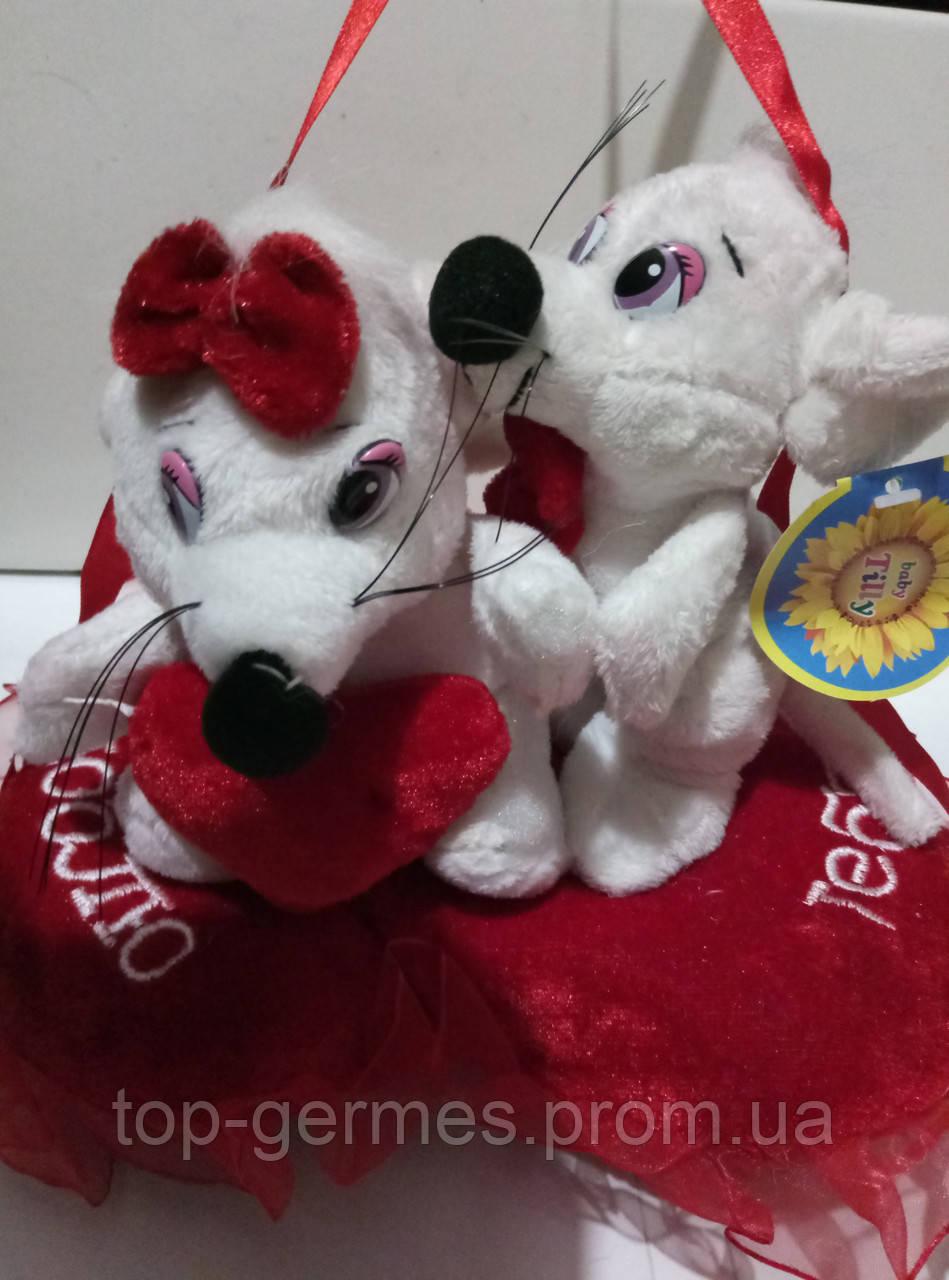 Говорящие мышки на сердце-ко дню Святого Валентина
