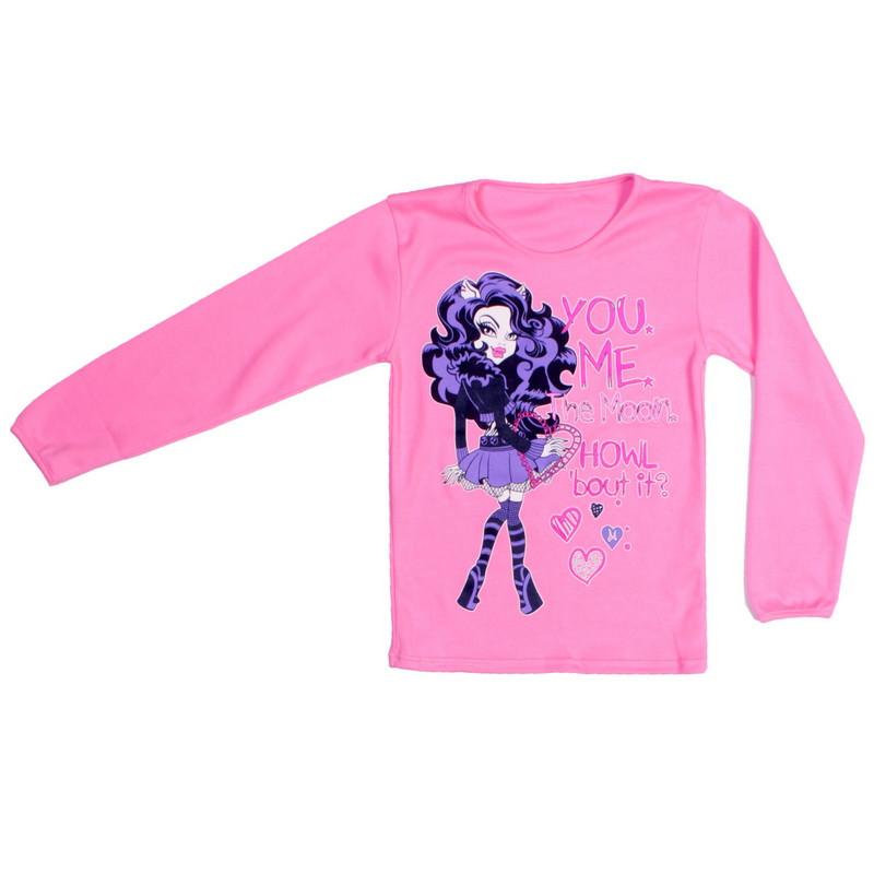 Реглан с накатом для девочки розовый