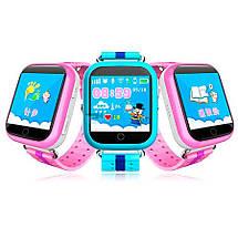 Детские смарт часы Q100S/Q750 умные часы, детские часы с gps. Оранжево-желтые, фото 3