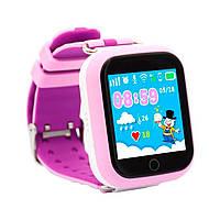 Детские смарт часы Q100S/Q750 умные часы, детские часы с gps. Розово-фиолетовые