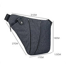 Мужская сумка Cross Body / Сумка Мессенджер (серый), фото 2