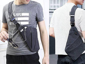 Мужская сумка Cross Body / Сумка Мессенджер (серый), фото 3