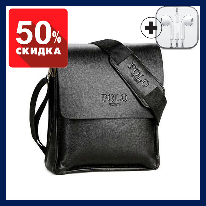Мужская сумка Polo Videng через плечо черная