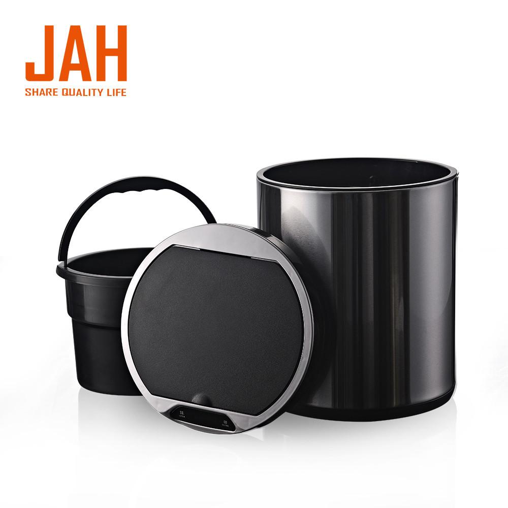 Сенсорное мусорное ведро JAH 9 л круглое черный металлик с внутренним ведром