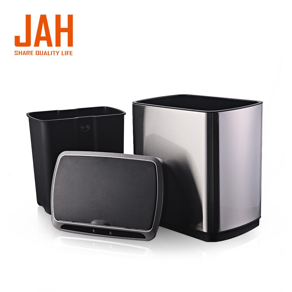 Сенсорное мусорное ведро JAH 30 л прямоугольное с внутренним ведром черный металлик