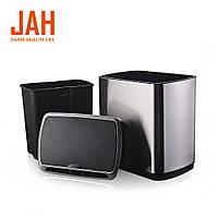 Сенсорное мусорное ведро JAH 30 л прямоугольное с внутренним ведром черный металлик, фото 1