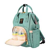 Сумка рюкзак для мамы. Женский органайзер для мам и детских принадлежностей бирюзовый, фото 3
