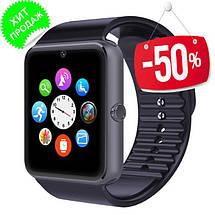 Умные часы Smart Watch Phone GT08 Черный корпус и ремешок, серебристый ободок, фото 2