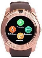 Наручные смарт часы V8 Smart Watch золотые. Лучшее качество