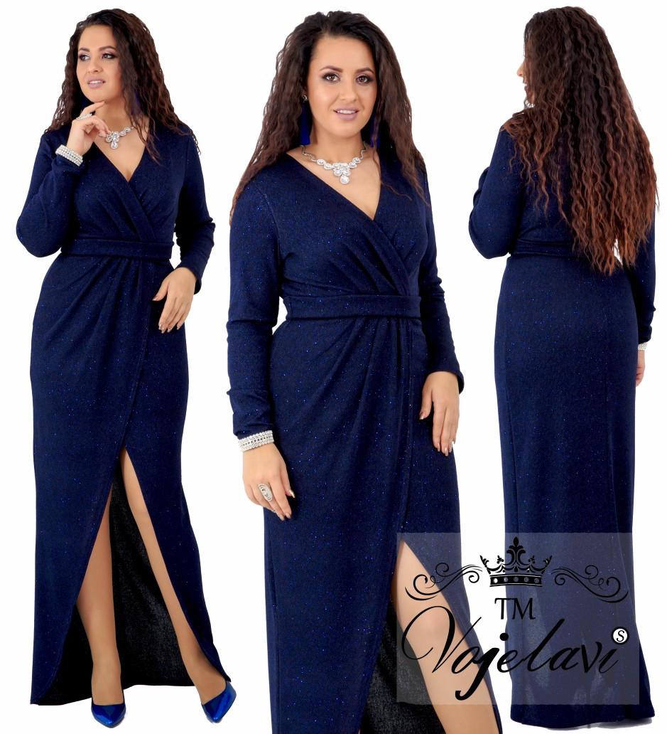 93d279edfbd Нарядное платье в пол с иммитацией запаха Фукра с люрексом Размер 48 50 52  54 В