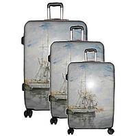 Комплект чемоданов 3-ка. (набор поликарбонат 3 штуки) на 4-хколесах