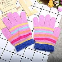 Перчатки розовые для девочки весна/осень в полоску