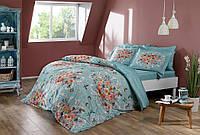 Двуспальное евро постельное белье TAC Alanis mavi Сатин-Digital