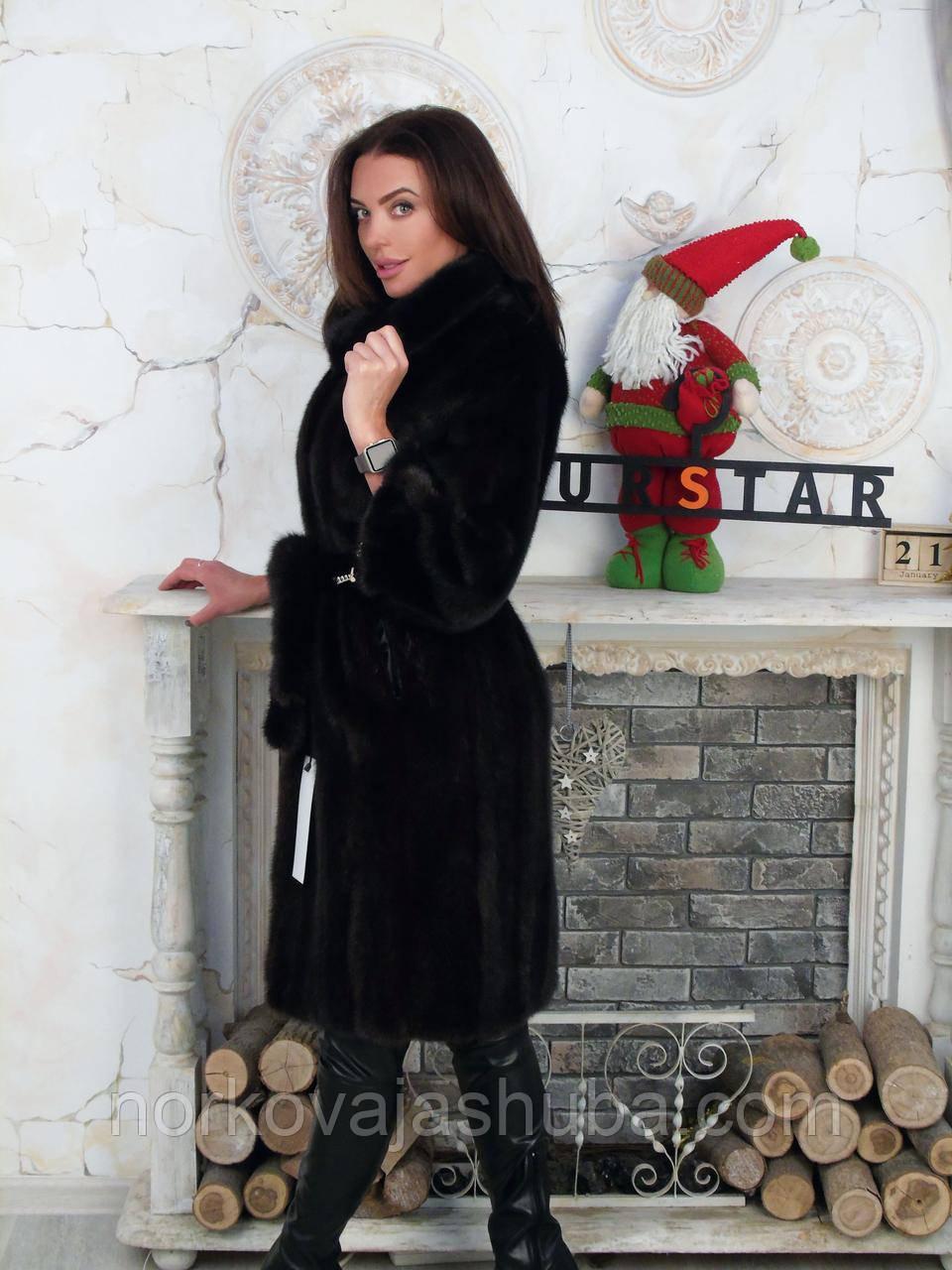 Норковая шуба пальто темно коричневая 44 46