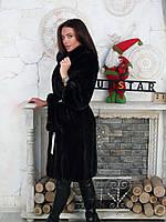 Норковая шуба пальто темно коричневая 44 46, фото 1