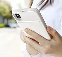 Беспроводной аккумулятор 5000mAh Baseus Wireless 1+1 +Чехол для iPhone X / Xs  (ACAPIPHX-ABJ) Белый
