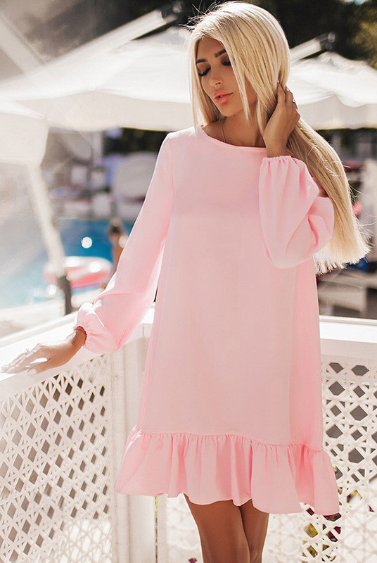 Платье большого размера Розалия розовое