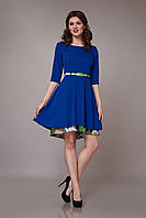 Оригинальное женское платье с двойной юбкой ультрамарин