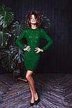 Женское вязанное платье мини короткое приталенное длинный рукав размер:42-46, фото 3