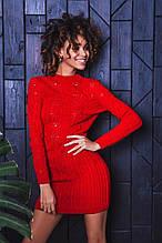 Жіноче в'язане плаття міні короткий приталене довгий рукав розмір:42-46