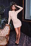 Женское вязанное платье мини короткое приталенное длинный рукав размер:42-46, фото 2