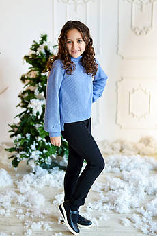 Свитер детский Татьяна Филатова модель 217  вязанный голубой
