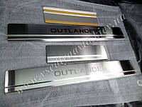 Защита порогов - накладки на пороги Mitsubishi Outlander III с 2013 г. (Standart)