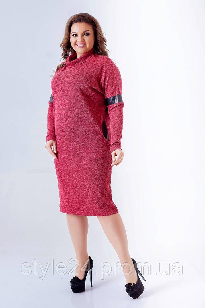 ЖІноче батальне плаття з ангори та шкіри на рукавха та спині .Р-ри 50-60 bd70de7f34929