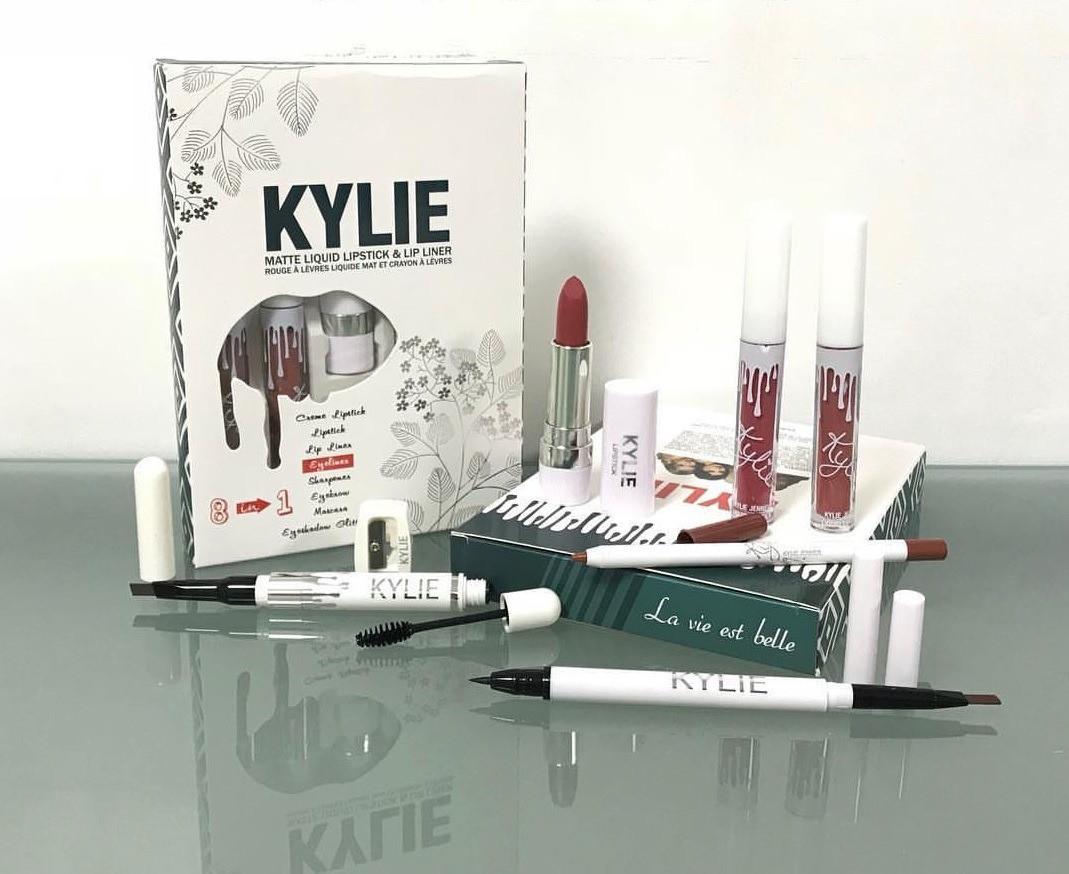 Набор косметики Kylie 8 в 1,  блеск, помада, карандаш, лайнер, подводка