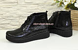 Женские замшевые демисезонные полуботинки на шнуровке, фото 3