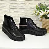 Женские замшевые демисезонные полуботинки на шнуровке, фото 4