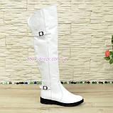 Ботфорти шкіряні білі туфлі на товстій підошві, декоровані ремінцями, фото 2