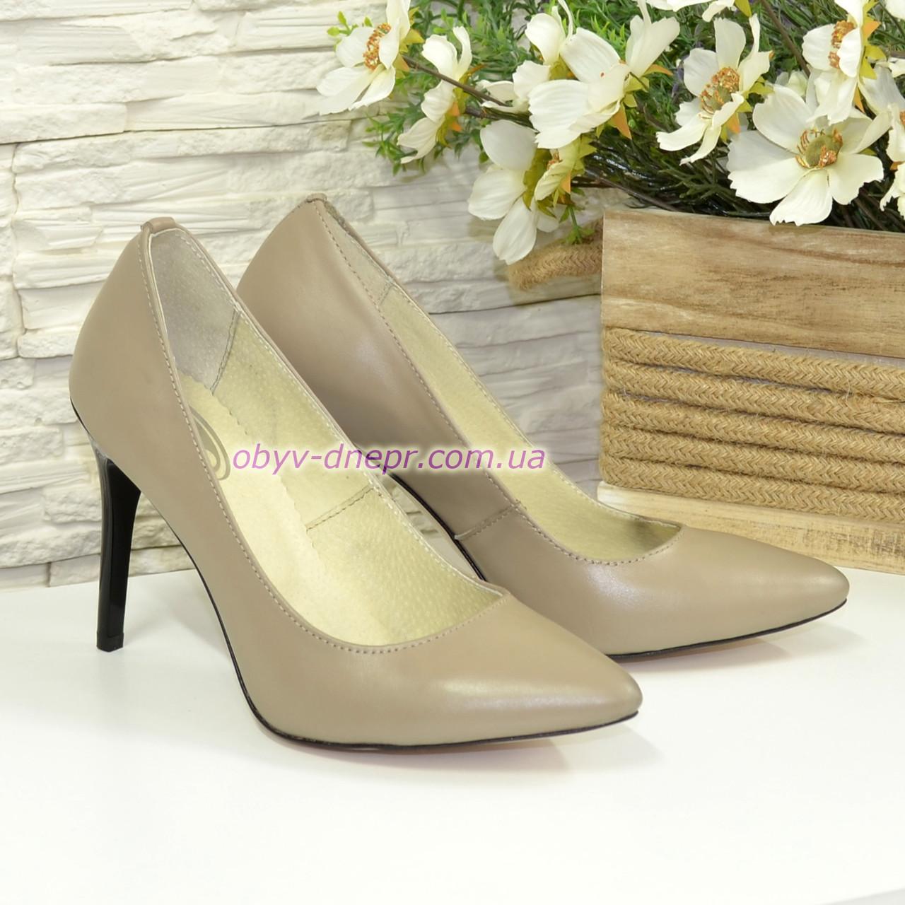 Туфли женские кожаные на шпильке, цвет визон