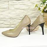 Туфли женские кожаные на шпильке, цвет визон, фото 3