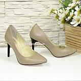 Туфли женские кожаные на шпильке, цвет визон, фото 4