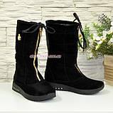Чоботи замшеві зимові на товстій підошві, декоровані фурнітурою, колір чорний, фото 2
