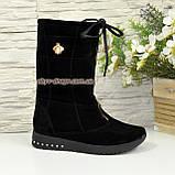 Чоботи замшеві зимові на товстій підошві, декоровані фурнітурою, колір чорний, фото 3