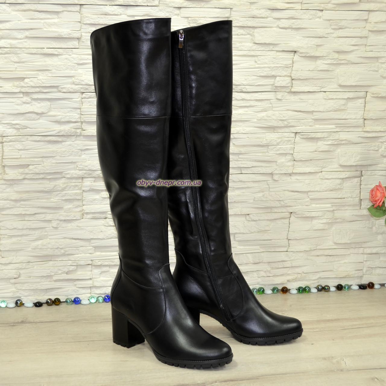Ботфорты зимние на устойчивом каблуке, натуральная черная кожа
