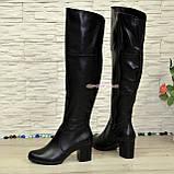 Ботфорты зимние на устойчивом каблуке, натуральная черная кожа, фото 2