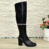 Ботфорты зимние на устойчивом каблуке, натуральная черная кожа, фото 3