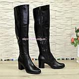 Ботфорты зимние на устойчивом каблуке, натуральная черная кожа, фото 4