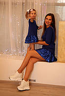 Платье с пайетками для мамы и дочки Family look, фото 1