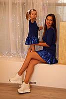 Платье с пайетками для мамы и дочки Family look