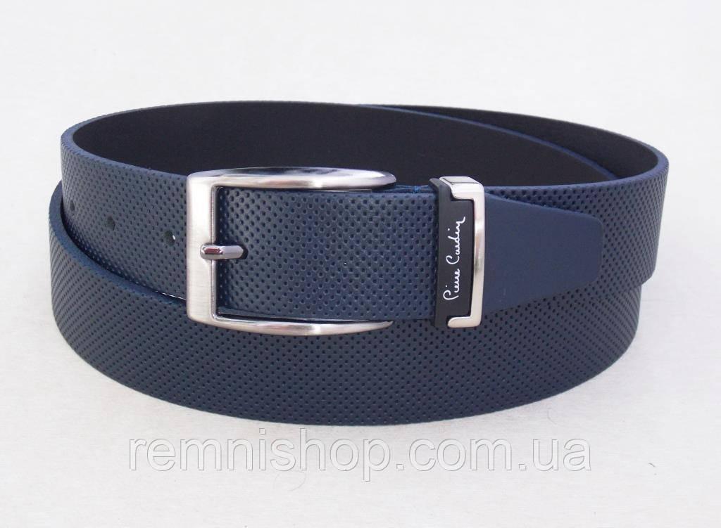 Классический мужской кожаный ремень Pierre Cardin синий