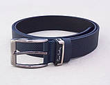 Классический мужской кожаный ремень Pierre Cardin синий , фото 4